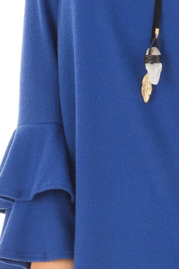 Royal Blue Soft Knit Long Sleeve Top with Tiered Bell Sleeves detail