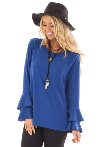 Royal Blue Soft Knit Long Sleeve Top with Tiered Bell Sleeves front close up