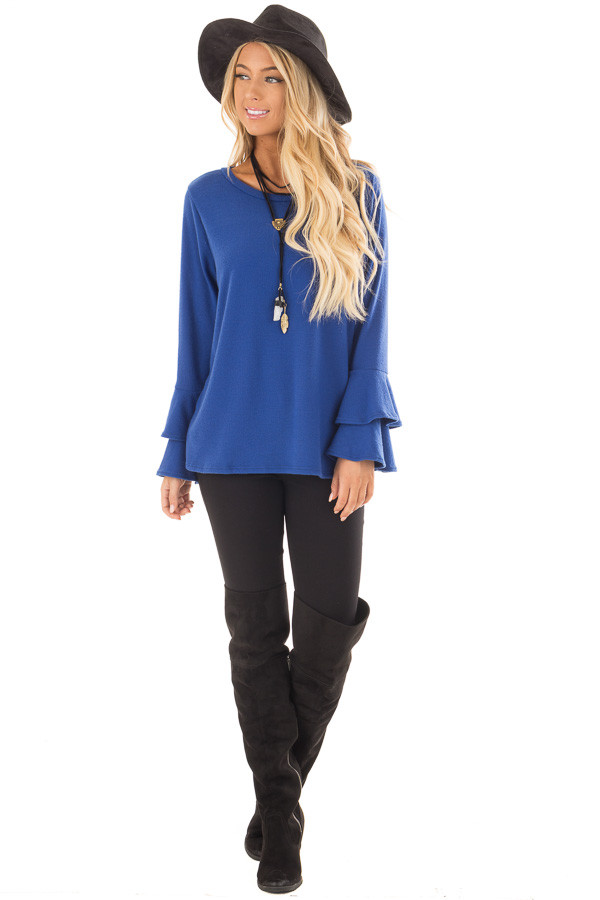 Royal Blue Soft Knit Long Sleeve Top with Tiered Bell Sleeves front full body