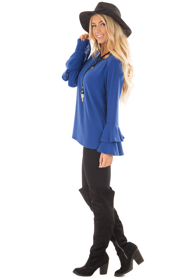 Royal Blue Soft Knit Long Sleeve Top with Tiered Bell Sleeves side full body