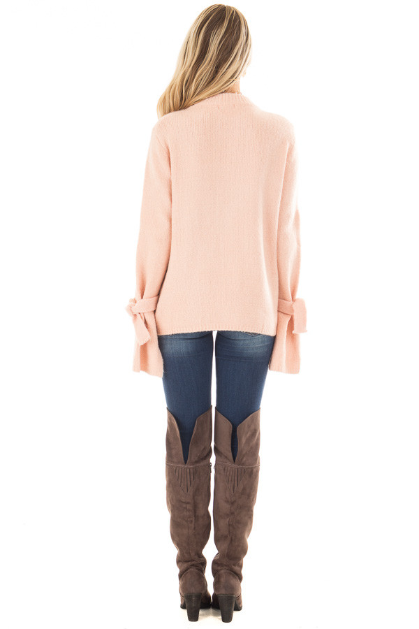 Blush Super Soft Sweater with Sleeve Tie Details back full body