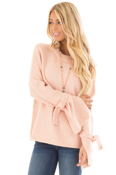 Blush Super Soft Sweater with Sleeve Tie Details front close up