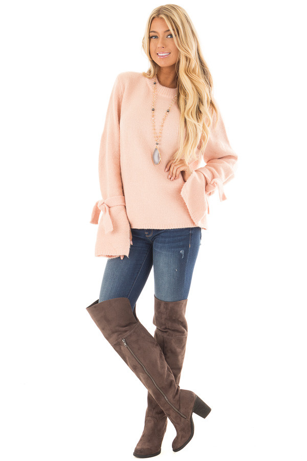Blush Super Soft Sweater with Sleeve Tie Details front full body
