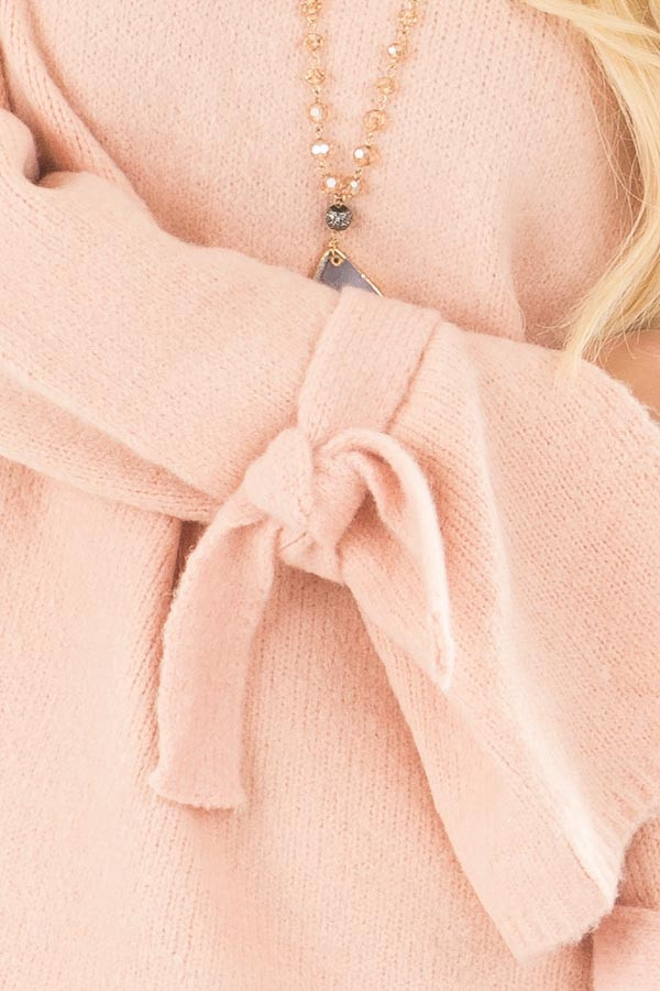 Blush Super Soft Sweater with Sleeve Tie Details detail