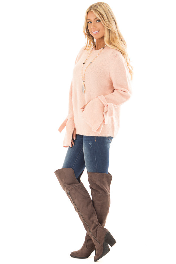Blush Super Soft Sweater with Sleeve Tie Details side full body