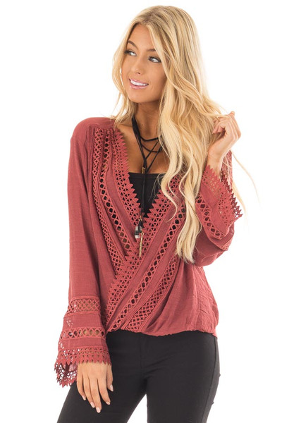 Marsala Long Sleeve Surplice Top with Crochet Detail front close up