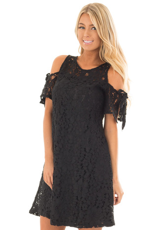 Black Lace Dress with Sheer Yoke and Cold Shoulders front close up