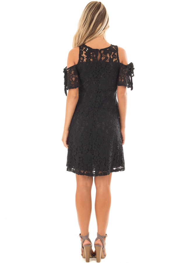 Black Lace Dress with Sheer Yoke and Cold Shoulders back full body