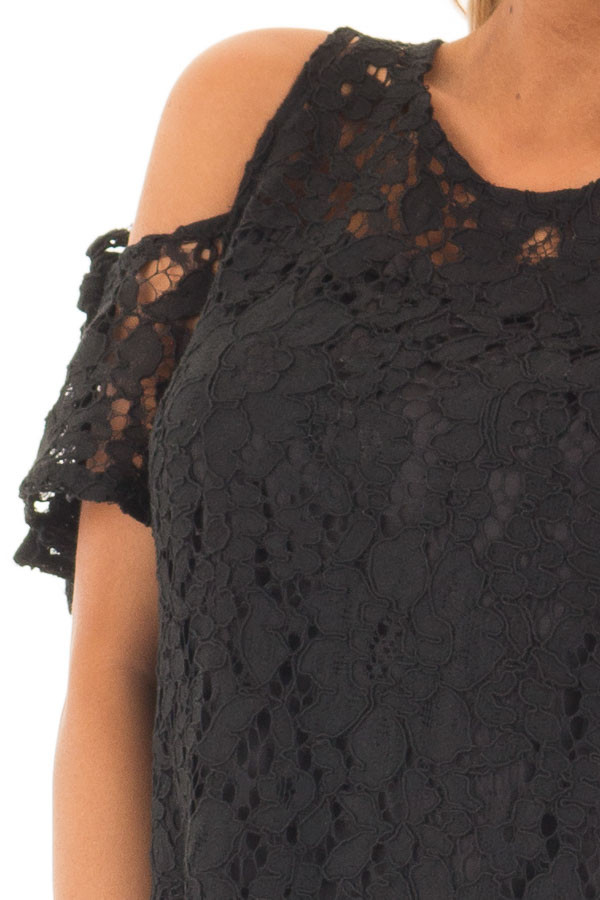 Black Lace Dress with Sheer Yoke and Cold Shoulders detail