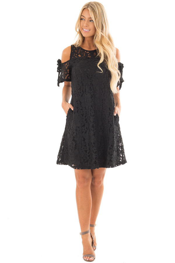 Black Lace Dress with Sheer Yoke and Cold Shoulders front full body
