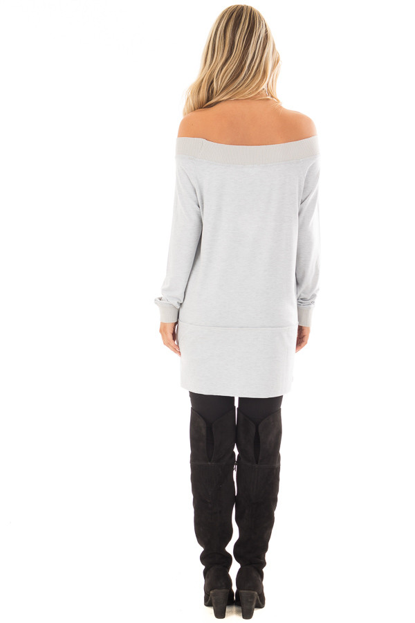 Light Grey Off the Shoulder Long Sleeve Tee back full body