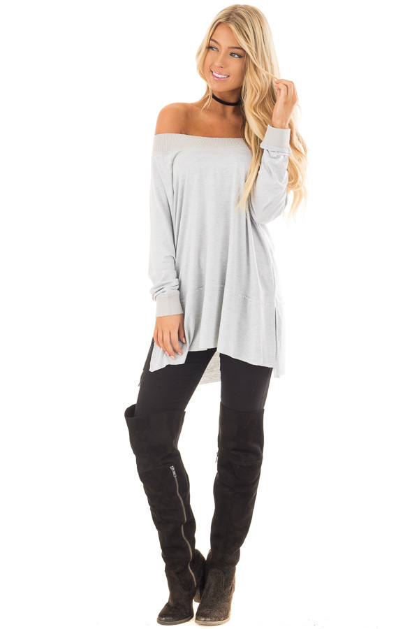 Light Grey Off the Shoulder Long Sleeve Tee front full body