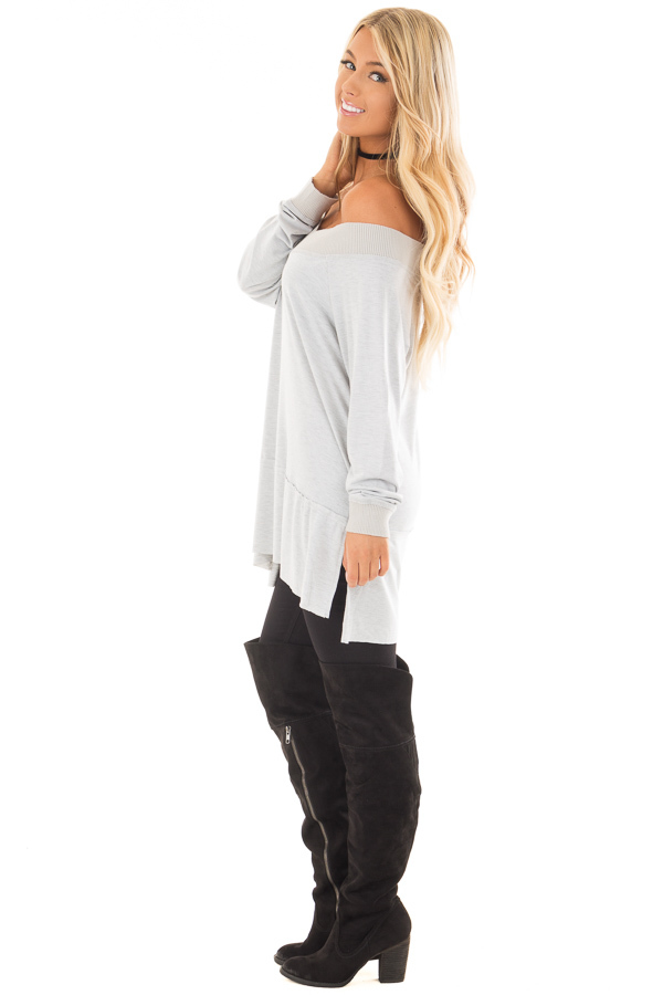 Light Grey Off the Shoulder Long Sleeve Tee side full body