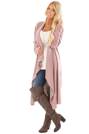 Dusty Rose Two Tone Super Soft Long Cardigan front full body