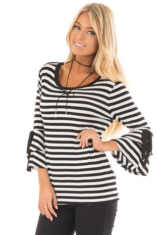 Black and White Striped Tee with Tiered Bell Sleeves front close up