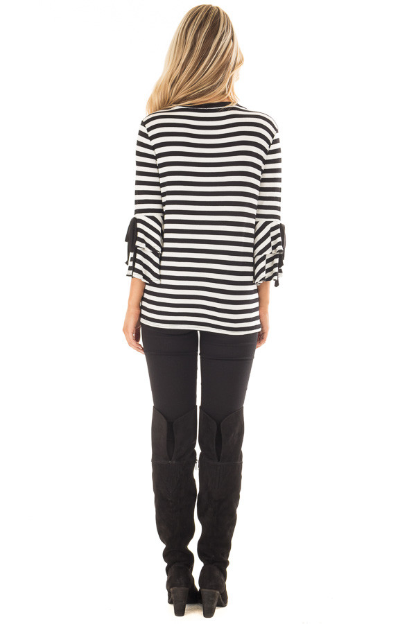 Black and White Striped Tee with Tiered Bell Sleeves back full body