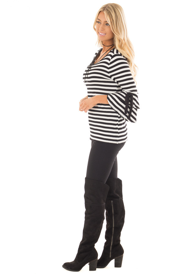 Black and White Striped Tee with Tiered Bell Sleeves side full body