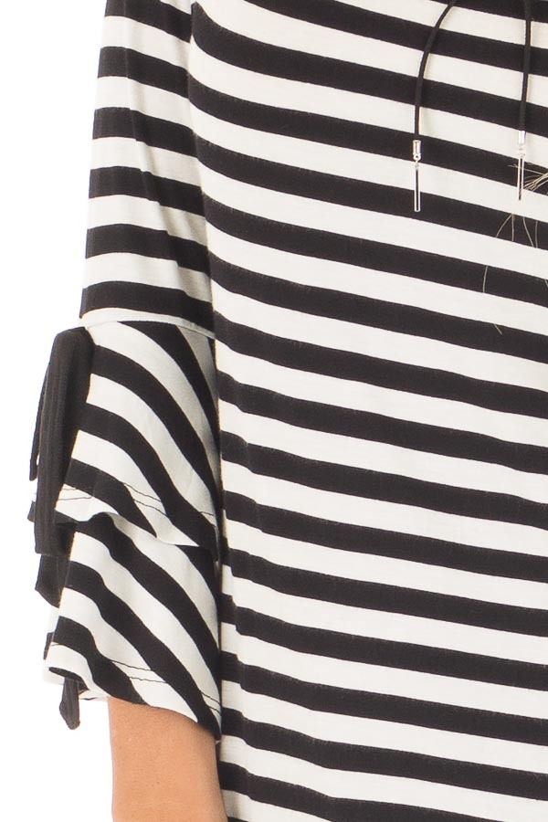 Black and White Striped Tee with Tiered Bell Sleeves detail