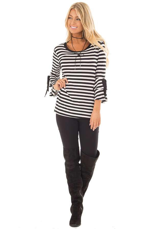 Black and White Striped Tee with Tiered Bell Sleeves front full body