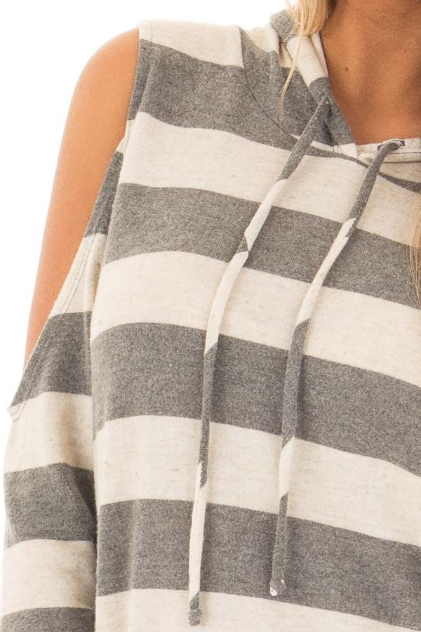 Oatmeal and Grey Striped Cold Shoulder Hoodie Top detail