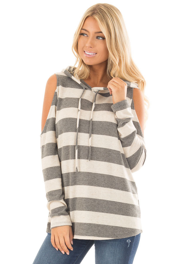 Oatmeal and Grey Striped Cold Shoulder Hoodie Top front close up