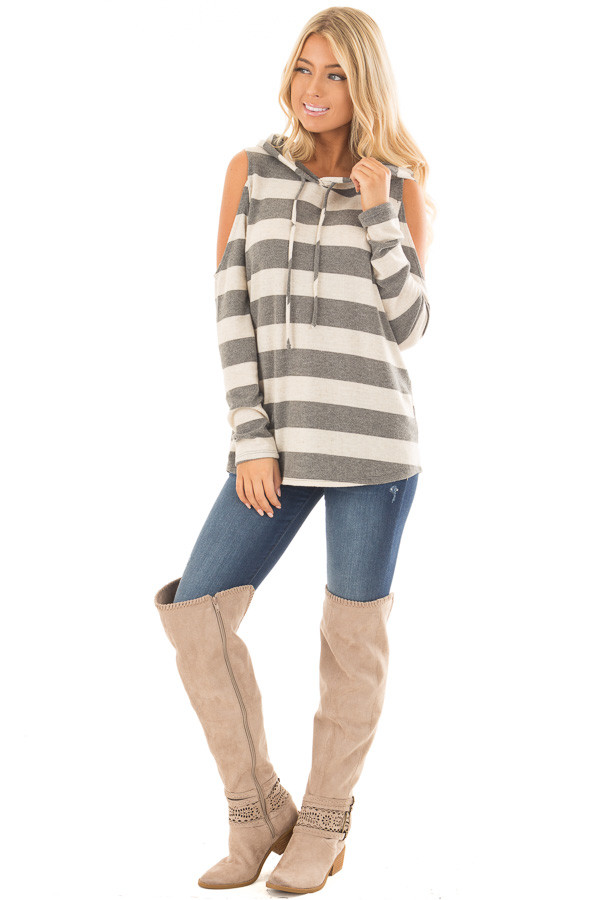 Oatmeal and Grey Striped Cold Shoulder Hoodie Top front full body