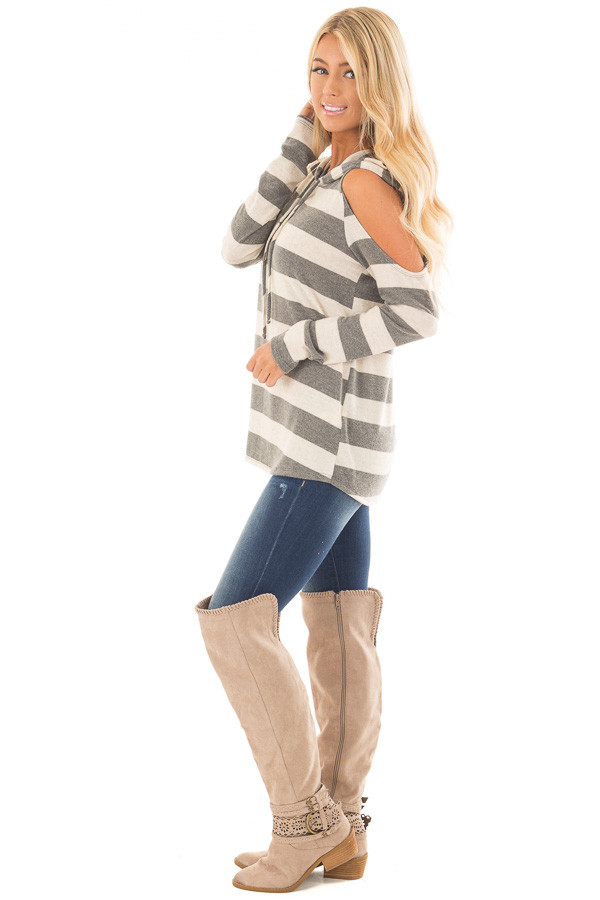 Oatmeal and Grey Striped Cold Shoulder Hoodie Top side full body