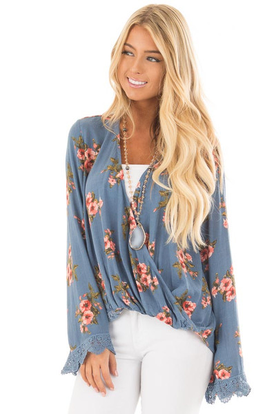 Deep Blue Floral Print Crossover Drape Top with Lace Cuffs front close up