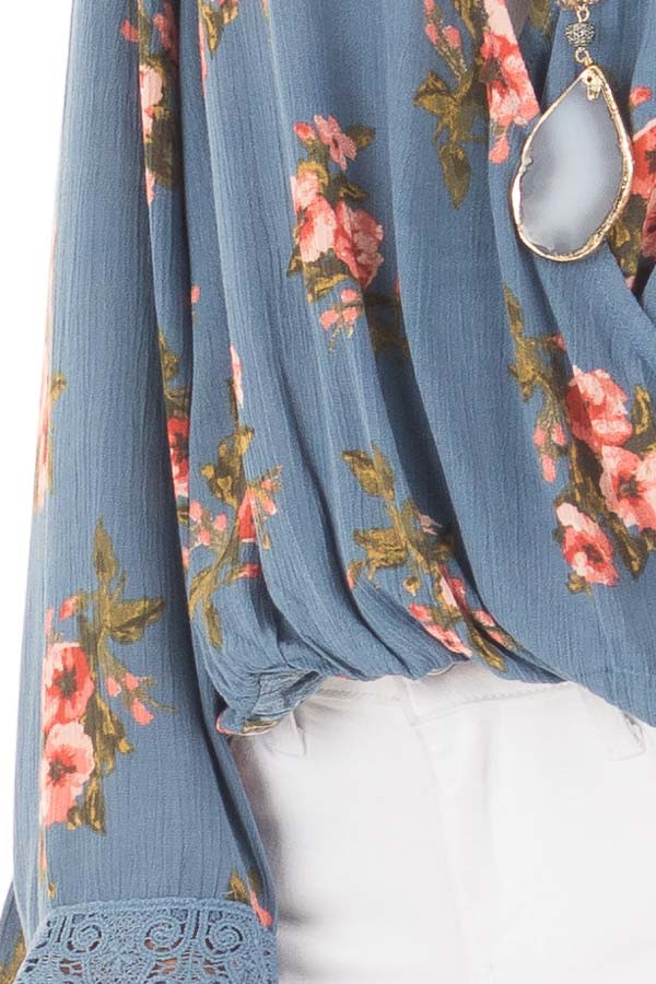 Deep Blue Floral Print Crossover Drape Top with Lace Cuffs detail