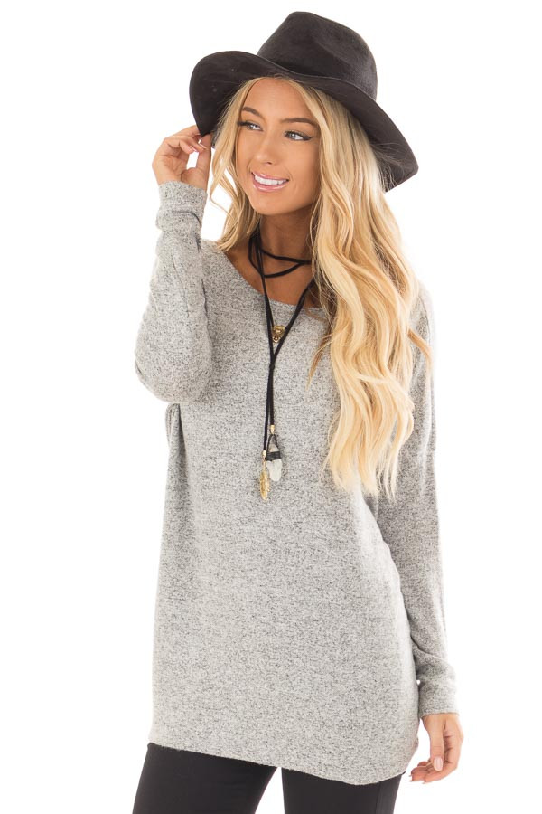 Heather Grey Open Twist Back Long Sleeve Top front close up