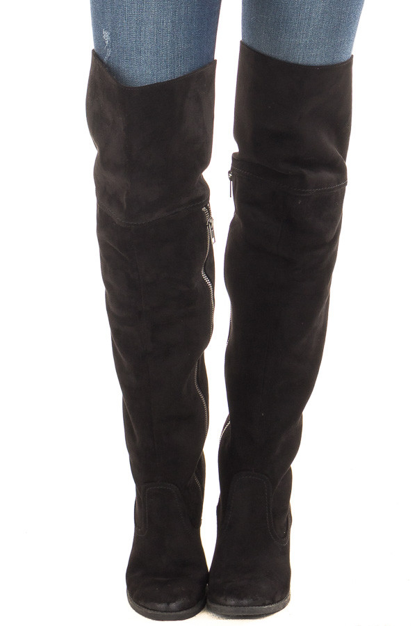 Black Faux Suede Over the Knee Boot with Stitched Accents front view