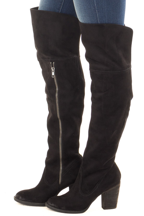 Black Faux Suede Over the Knee Boot with Stitched Accents side view