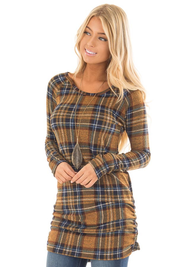 Mustard Plaid Tunic Dress with Side Ruching front close up