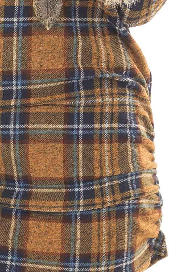 Mustard Plaid Tunic Dress with Side Ruching detail