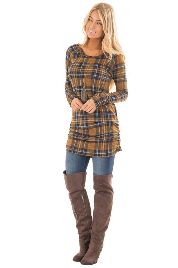 Mustard Plaid Tunic Dress with Side Ruching front full body