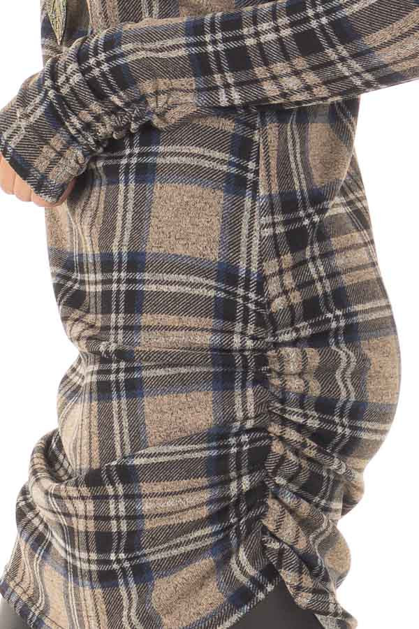 Taupe Plaid Tunic Dress with Side Ruching detail