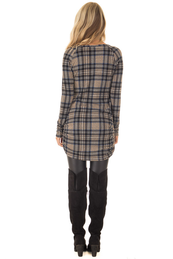 Taupe Plaid Tunic Dress with Side Ruching back full body