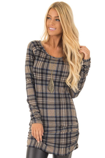 Taupe Plaid Tunic Dress with Side Ruching front close up
