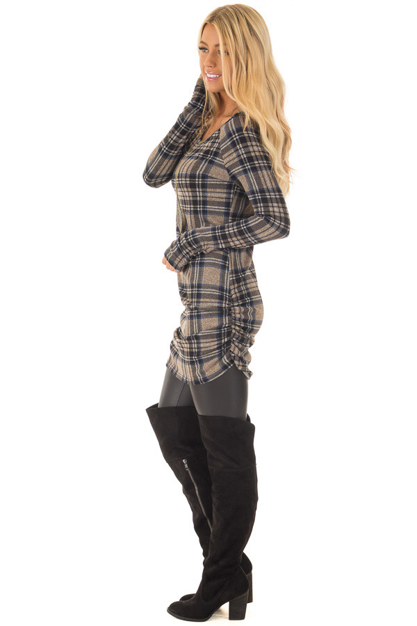 Taupe Plaid Tunic Dress with Side Ruching side full body