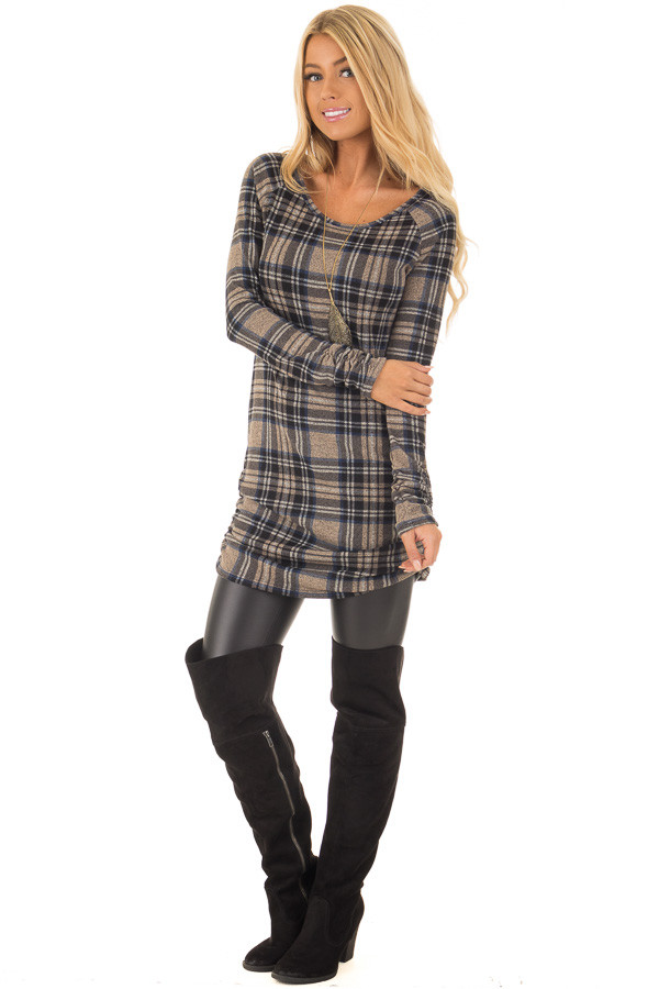 Taupe Plaid Tunic Dress with Side Ruching front full body