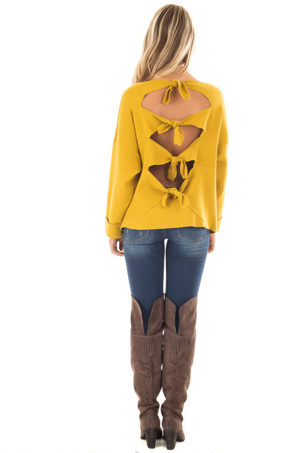 Sunflower Sweater with Open Tie Back back full body