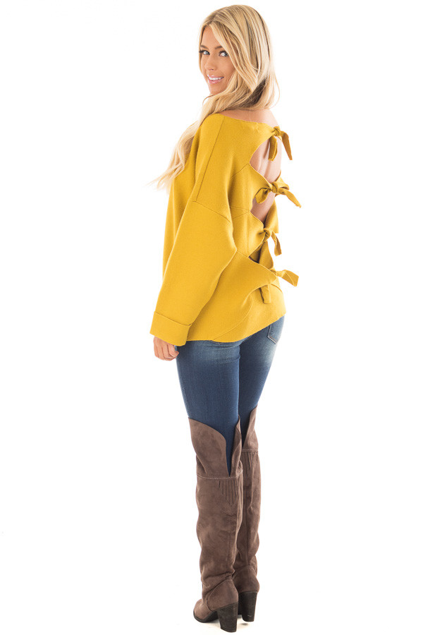 Sunflower Sweater with Open Tie Back back side full body
