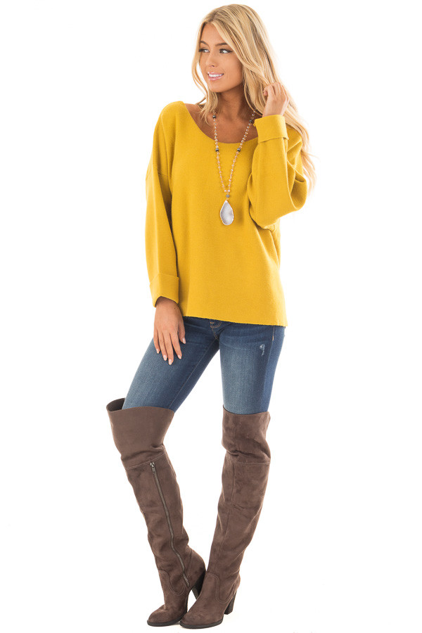 Sunflower Sweater with Open Tie Back front full body