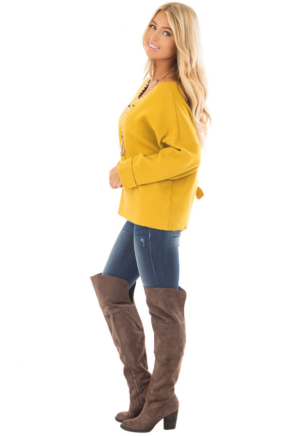 Sunflower Sweater with Open Tie Back side full body