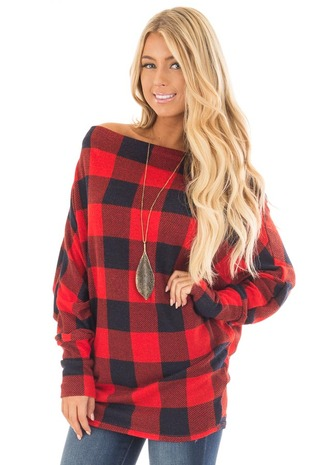 Red Checkered Knit Dolman Off the Shoulder Sleeve Top front close up
