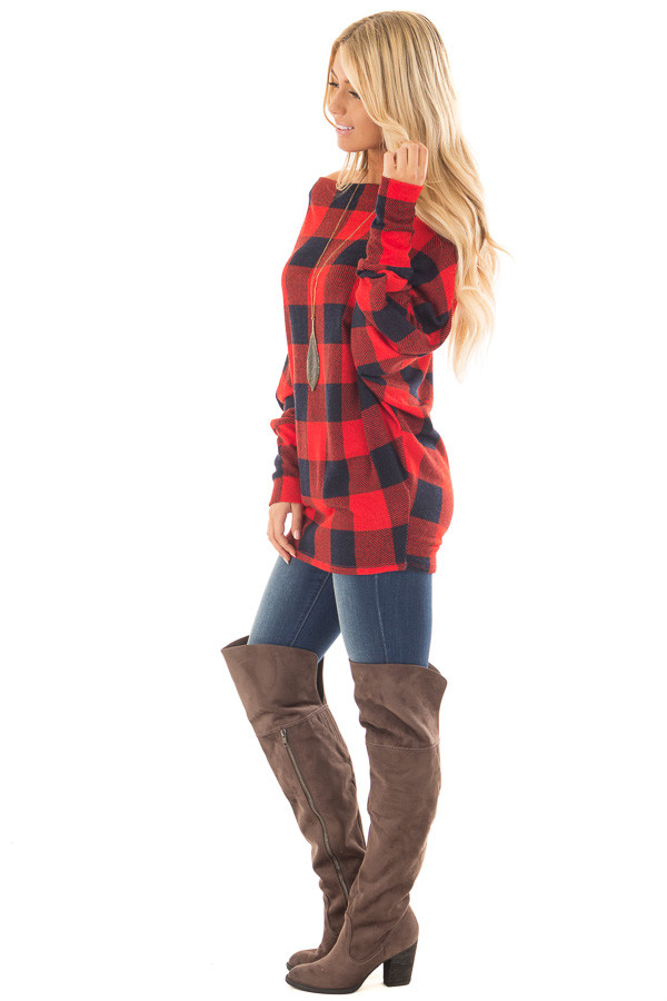 Red Checkered Knit Dolman Off the Shoulder Sleeve Top side full body