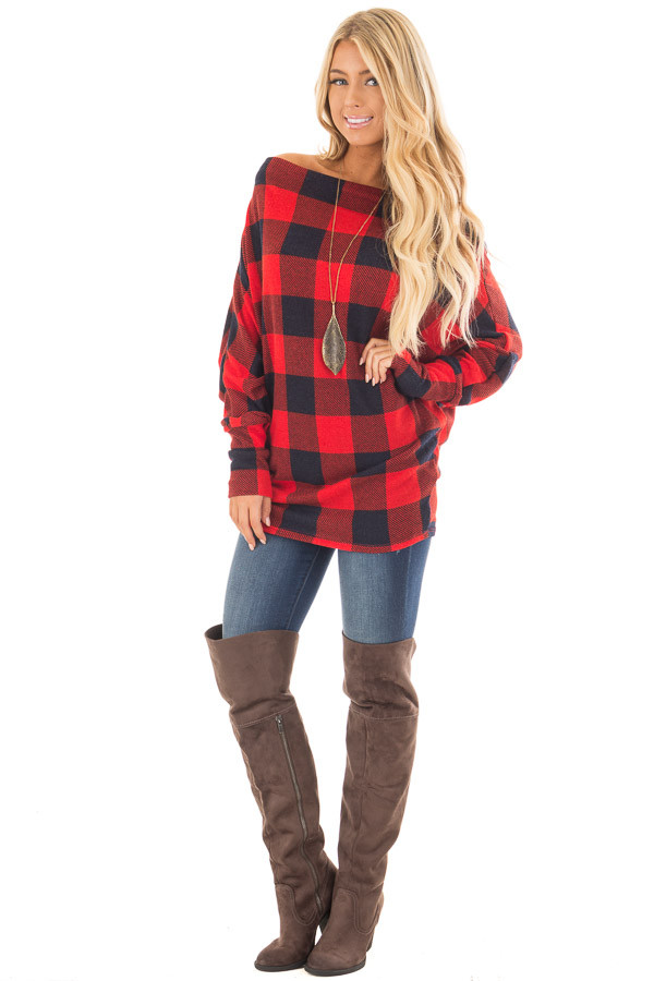 Red Checkered Knit Dolman Off the Shoulder Sleeve Top front full body