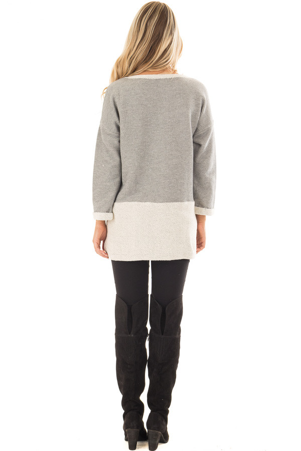 Heather Grey Sweater with Cream Contrast and Pockets back full body