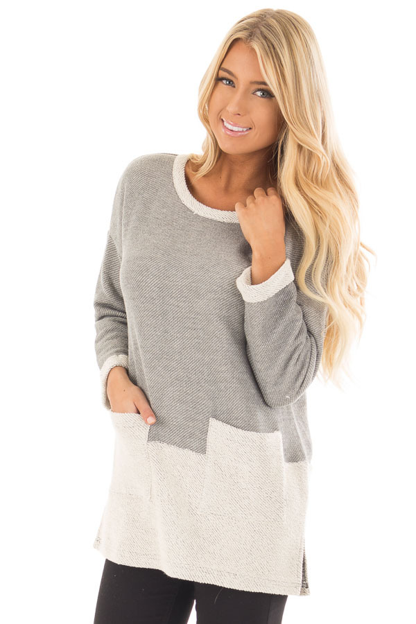 Heather Grey Sweater with Cream Contrast and Pockets front close up