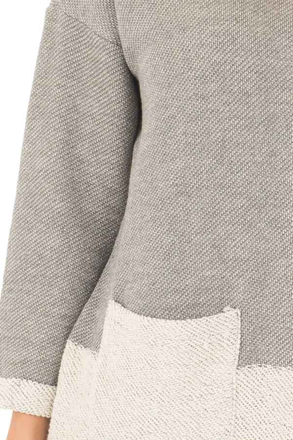 Heather Grey Sweater with Cream Contrast and Pockets detail
